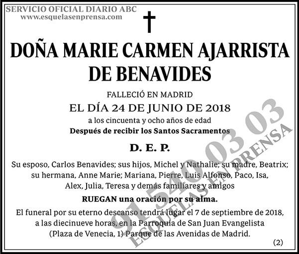 Marie Carmen Ajarrista de Benavides
